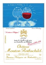 Label Mouton Rothschild bw Hockney