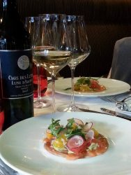 Salmon Gravadlax and Clos des Lunes 2015 at Brasserie Le Bordeaux Gordon Ramsey